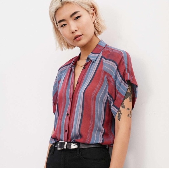 ae493e51c401 BDG Striped Short Sleeve Button Down Shirt. M_5b96cadf7386bca32592b021